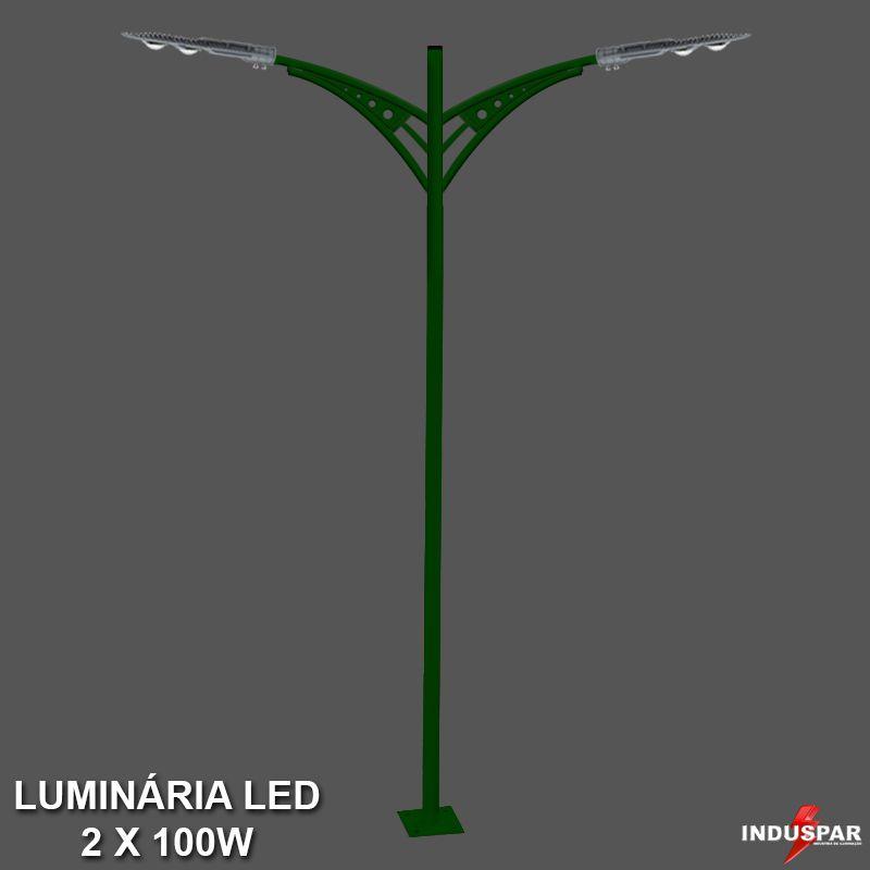 P27L/2 - Poste de Jardim Led Titan 03  - 2 Luminárias 100W