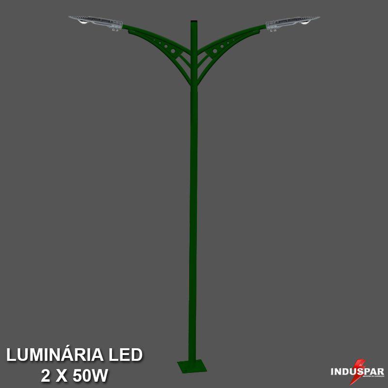 P27L/2 - Poste de Jardim Led Titan 03  - 2 Luminárias  50W