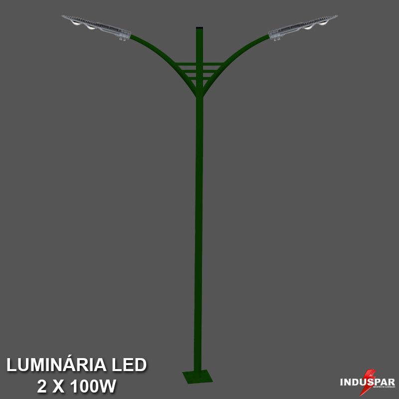 P29L/2 - Poste de Jardim Led Titan 05  - 2 Luminárias 100W