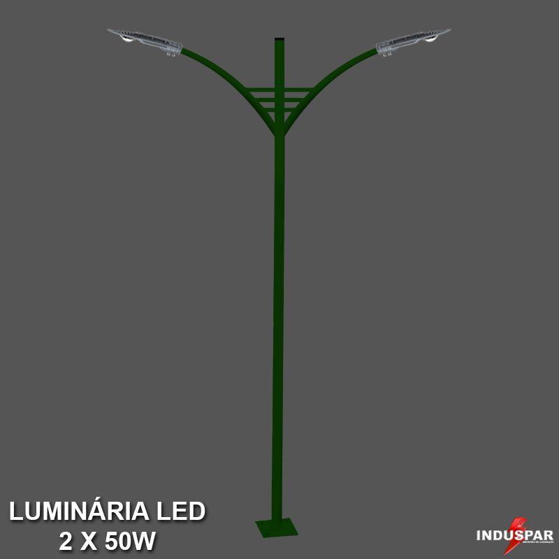 P29L/2 - Poste de Jardim Led Titan 05  - 2 Luminárias  50W