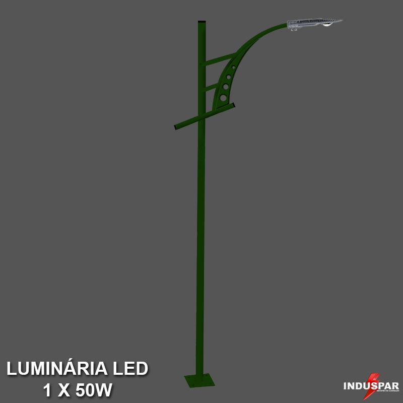 Poste de Jardim Led Titan 06  - 1 Luminária  50W - P30L/1-50W