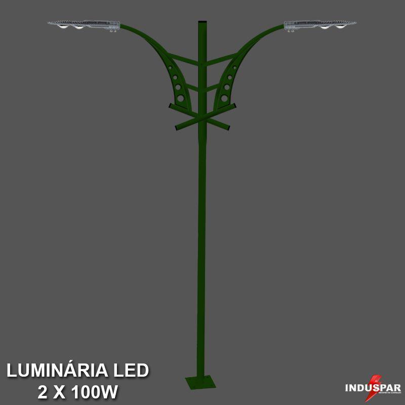 P30L/2 - Poste de Jardim Led Titan 06  - 2 Luminárias 100W