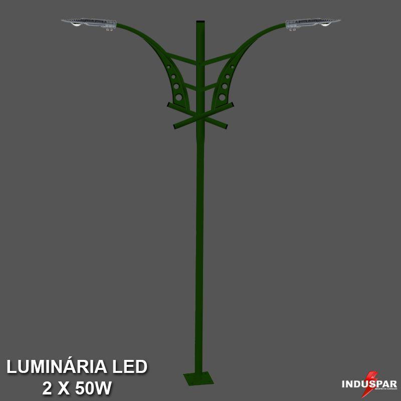 Poste de Jardim Led Titan 06  - 2 Luminárias  50W - P30L/2-50W