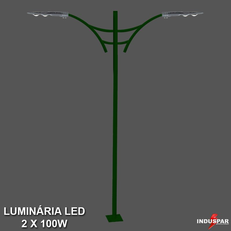 P31L/2 - Poste de Jardim Led Titan 07  - 2 Luminárias 100W