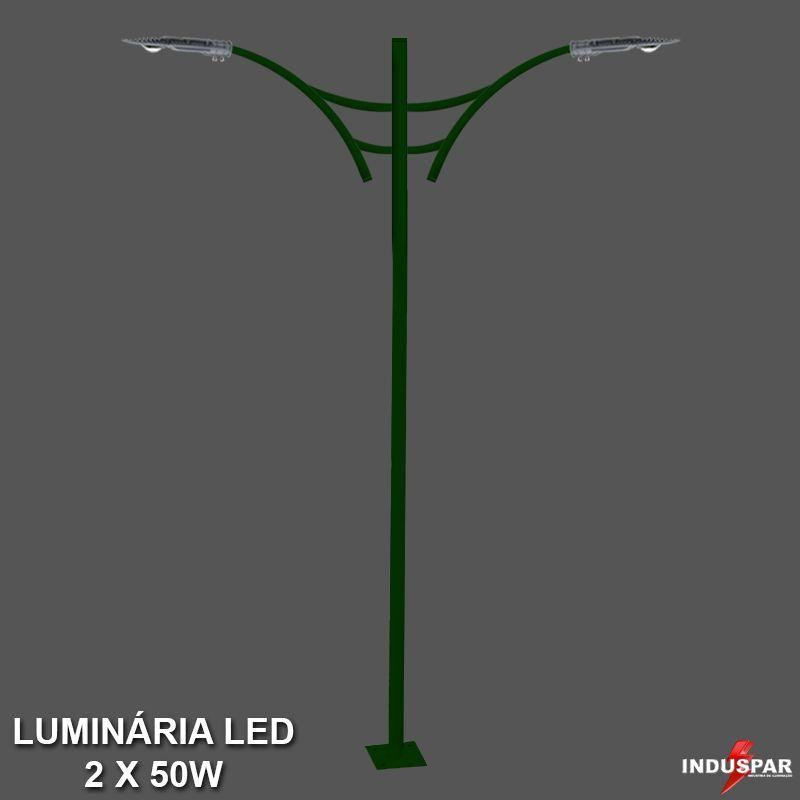 P31L/2 - Poste de Jardim Led Titan 07  - 2 Luminárias  50W