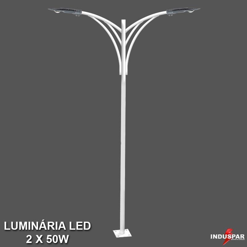 P32L/2 - Poste de Jardim Led Titan 08  - 2 Luminária  50W
