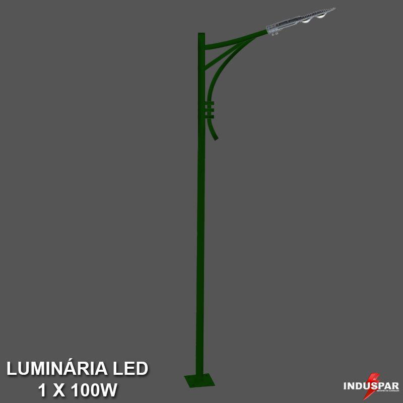 P33L/1 - Poste de Jardim Led Titan 09  - 1 Luminária 100W