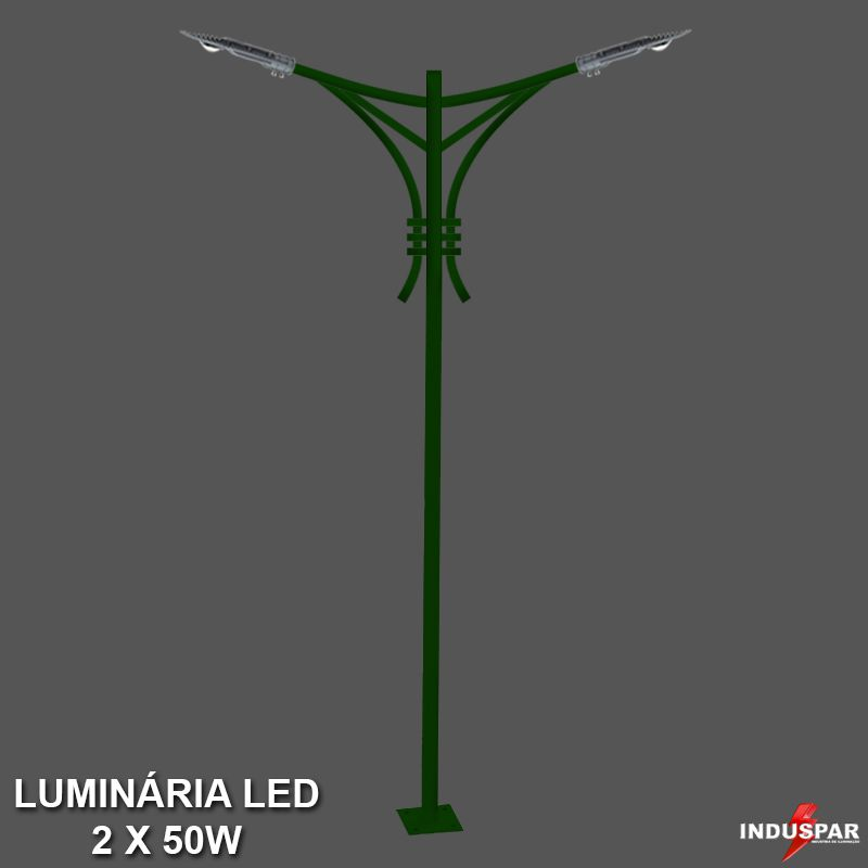 P33L/2 - Poste de Jardim Led Titan 09  - 2 Luminária  50W