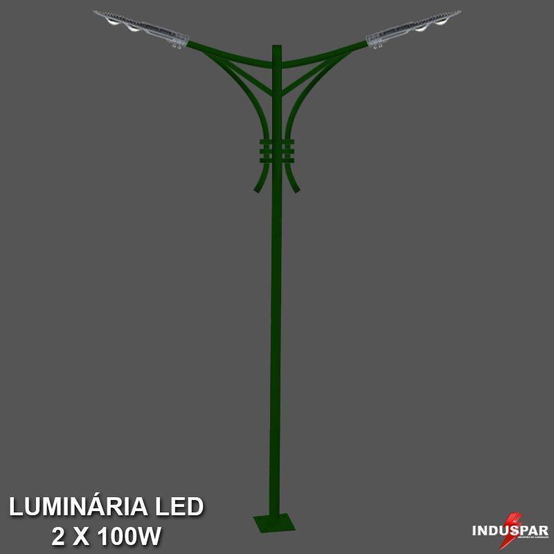 P33L/2 - Poste de Jardim Led Titan 09  - 2 Luminárias 100W