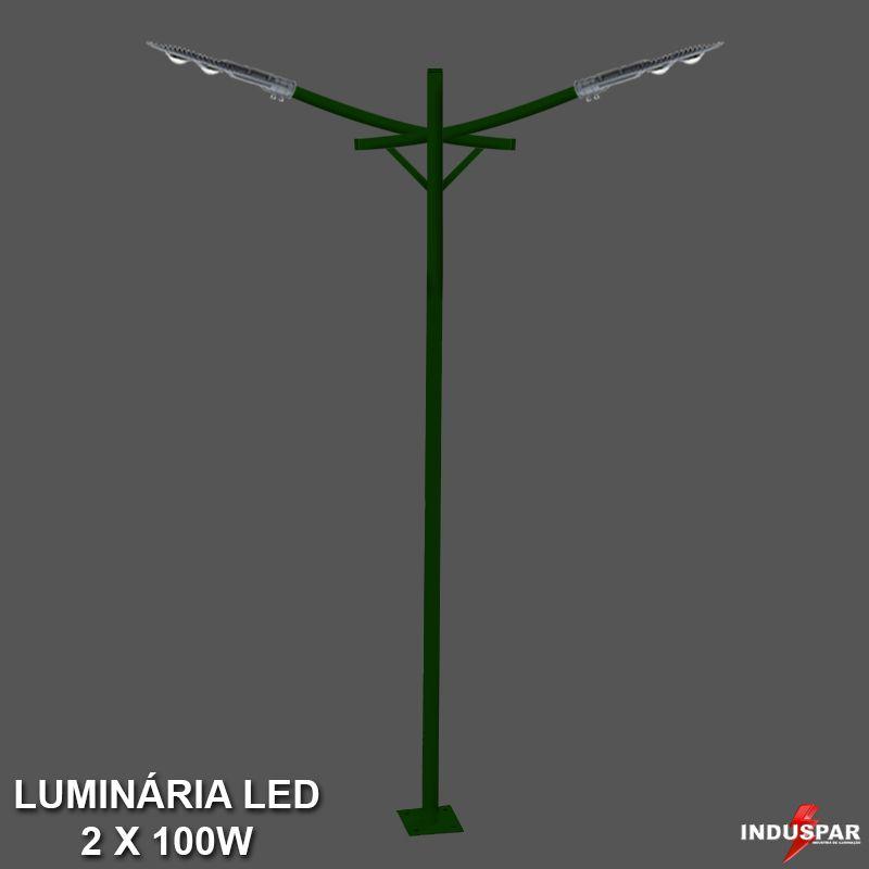 P34L/2 - Poste de Jardim Led Titan 10  - 2 Luminárias 100W
