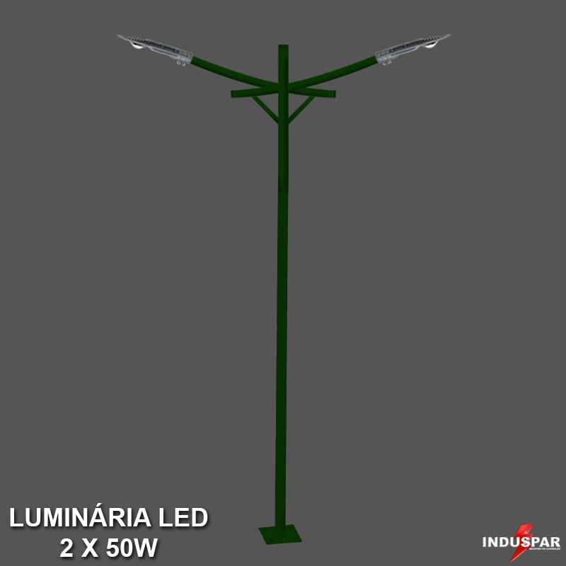 Poste de Jardim Led Titan 10  - 2 Luminárias  50W - P34L/2-50W