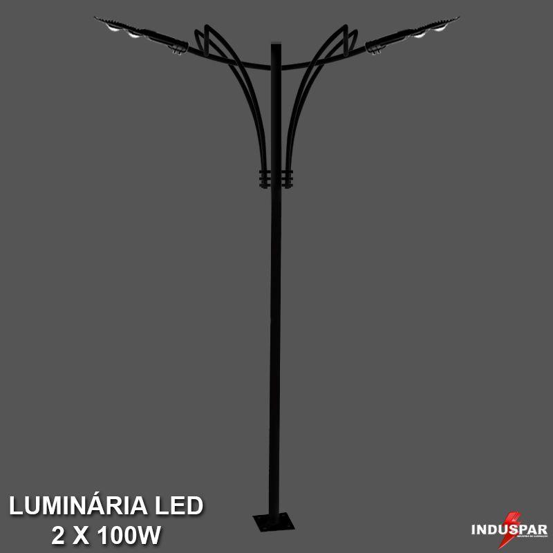 P35L/2 - Poste de Jardim Led Titan 11  - 2 Luminárias 100W
