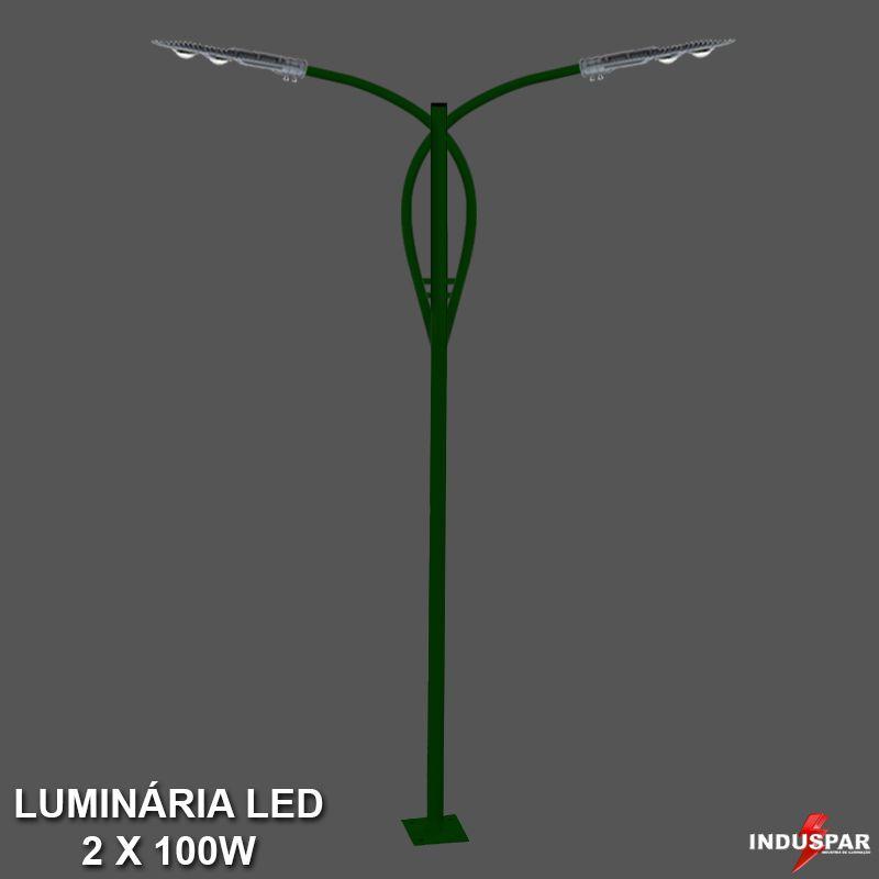 P37L/2 - Poste de Jardim Led Titan 13  - 2 Luminárias 100W