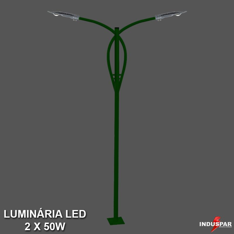 P37L/2 - Poste de Jardim Led Titan 13  - 2 Luminárias  50W