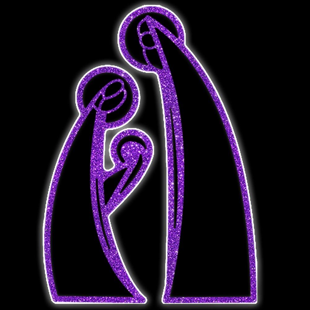 033-MD - Decoração Color Mdf Sagrada Familia Vazada Iluminado Led