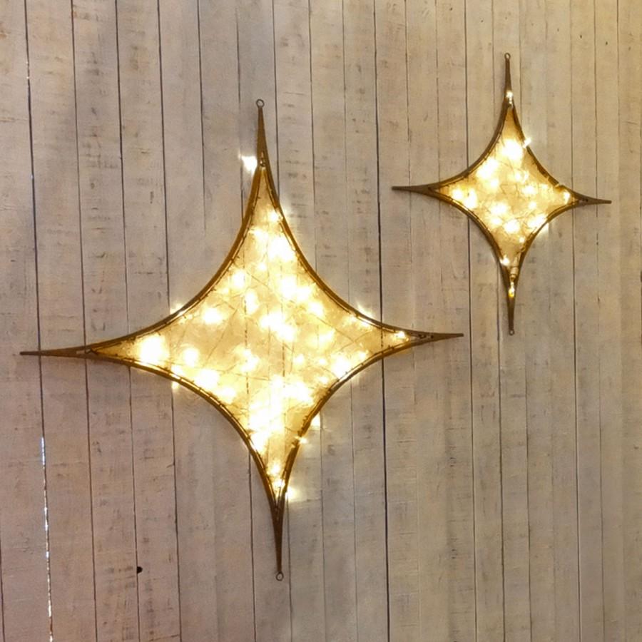 027 - Pingente Estrela 4 Pontas iluminado Glamour Diamante Dourado - Tam 1,20 Metros x 1,20 Metros