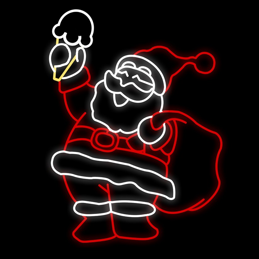 Papai Noel segurando sorvete
