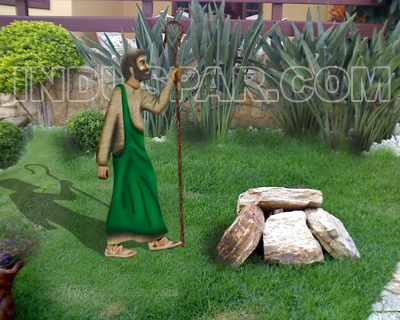 Ref: 454 - Presépio  Elegance Colorido Médio - Pastor - Medida 0,94 mt x 0,40 mt