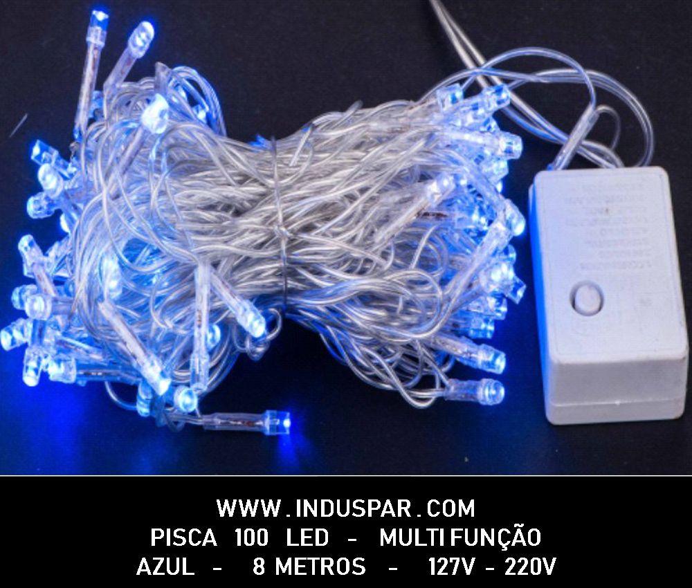 Pisca Pisca Azul 100 Led Fio Transparente -  8 Funções
