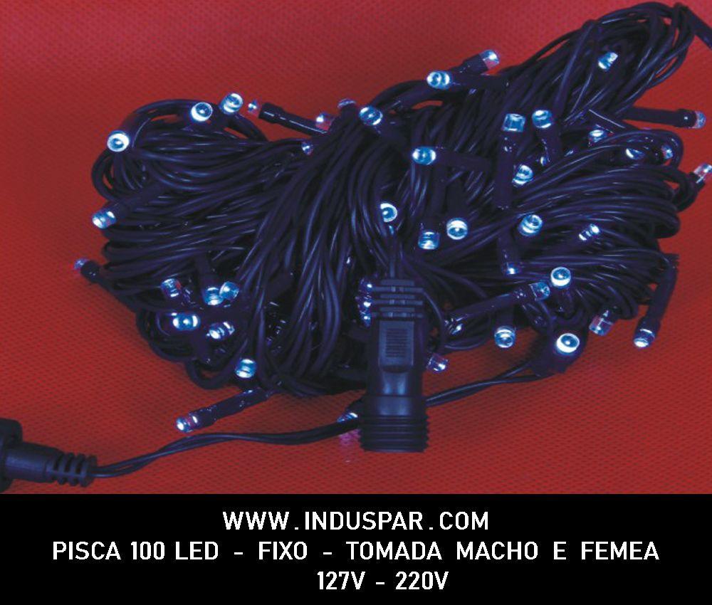 021PI - Pisca Pisca 100 Led Branco Frio Fixo Macho e Fêmea  Fio Verde 10 mts