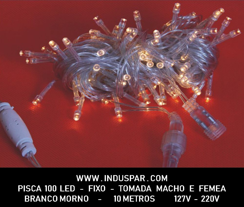 012PI - Pisca Pisca 100 Led Branco Morno Fixo Macho e Fêmea  Fio Transparente 10 mts