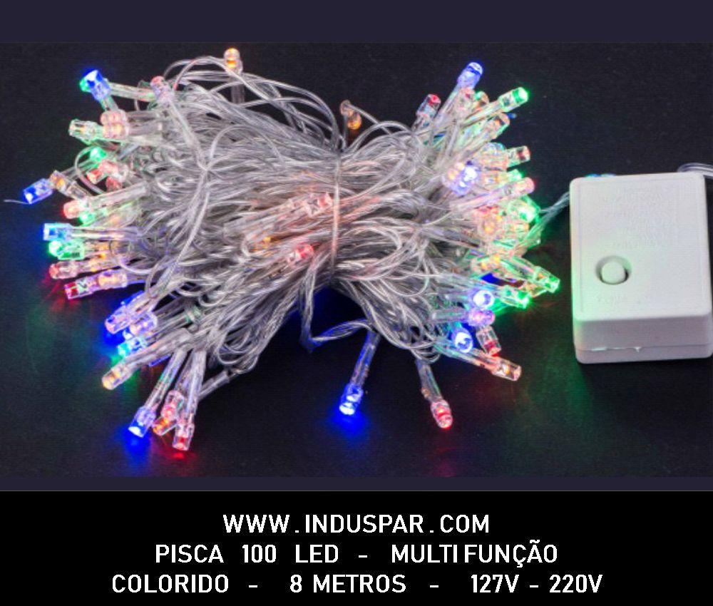 007PI - Pisca Pisca 100 Led Colorido Multi Funções  Fio Transparente 8 mts