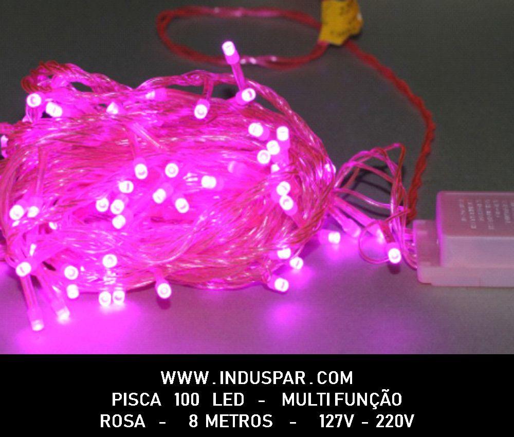 009PI - Pisca Pisca 100 Led Rosa Multi Funções Fio Rosa