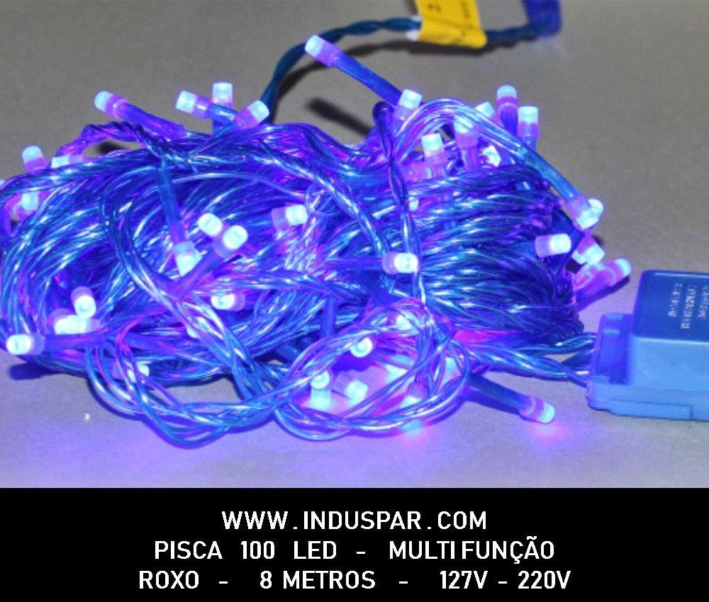N21-8F/09VD - Pisca Pisca 100 Led Roxo Multi Funções Fio Verde 10 mts - 1013 / 1513