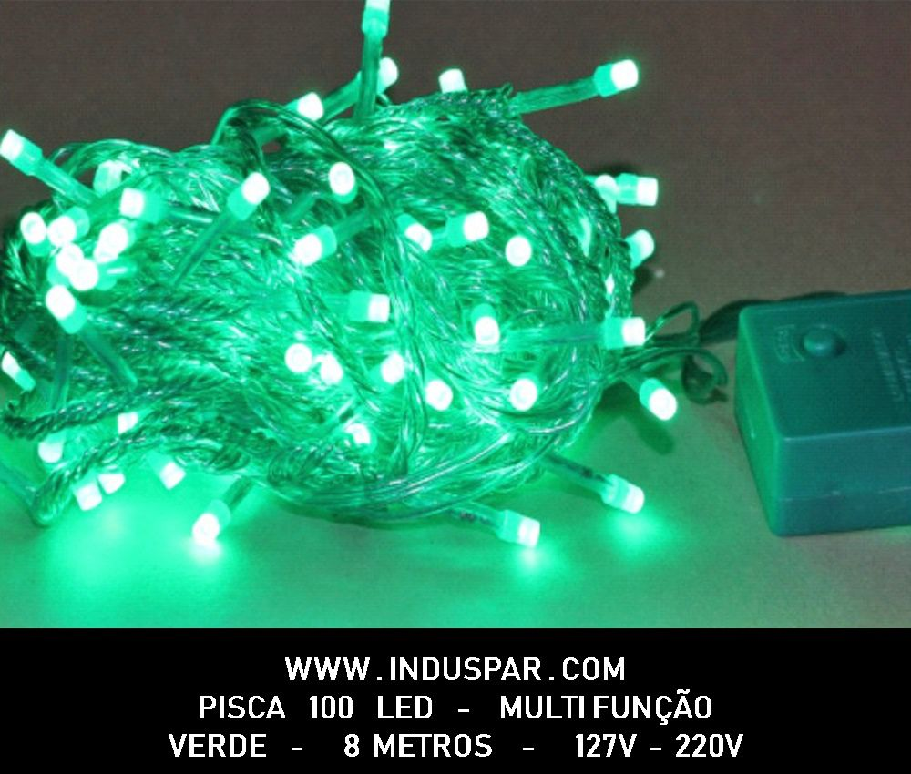 Pisca Pisca Verde 100 Led Fio Verde -  8 Funções