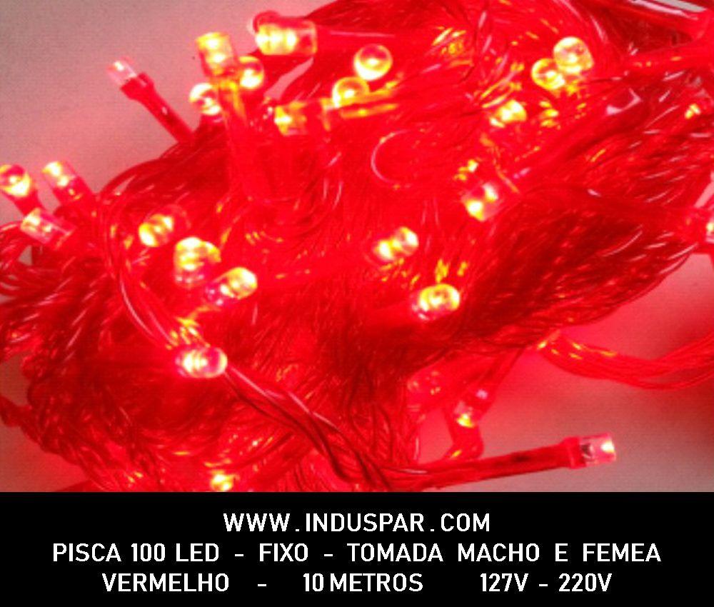Pisca Pisca 100 Led Vermelho Fixo Tomada Macho e Fêmea  Fio Vermelho - Ref. 20036