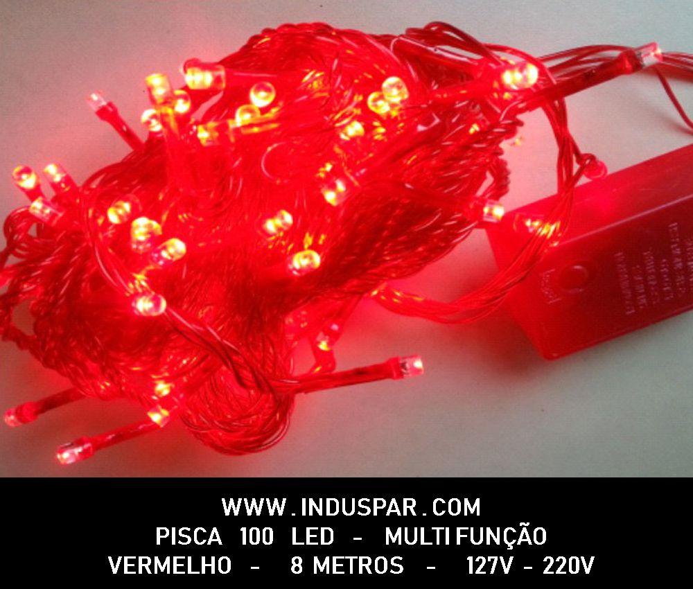 N21-8F/11VD - Pisca Pisca 100 Led Vermelho Multi Funções  Fio Verde 10 mts - 1015 / 1515