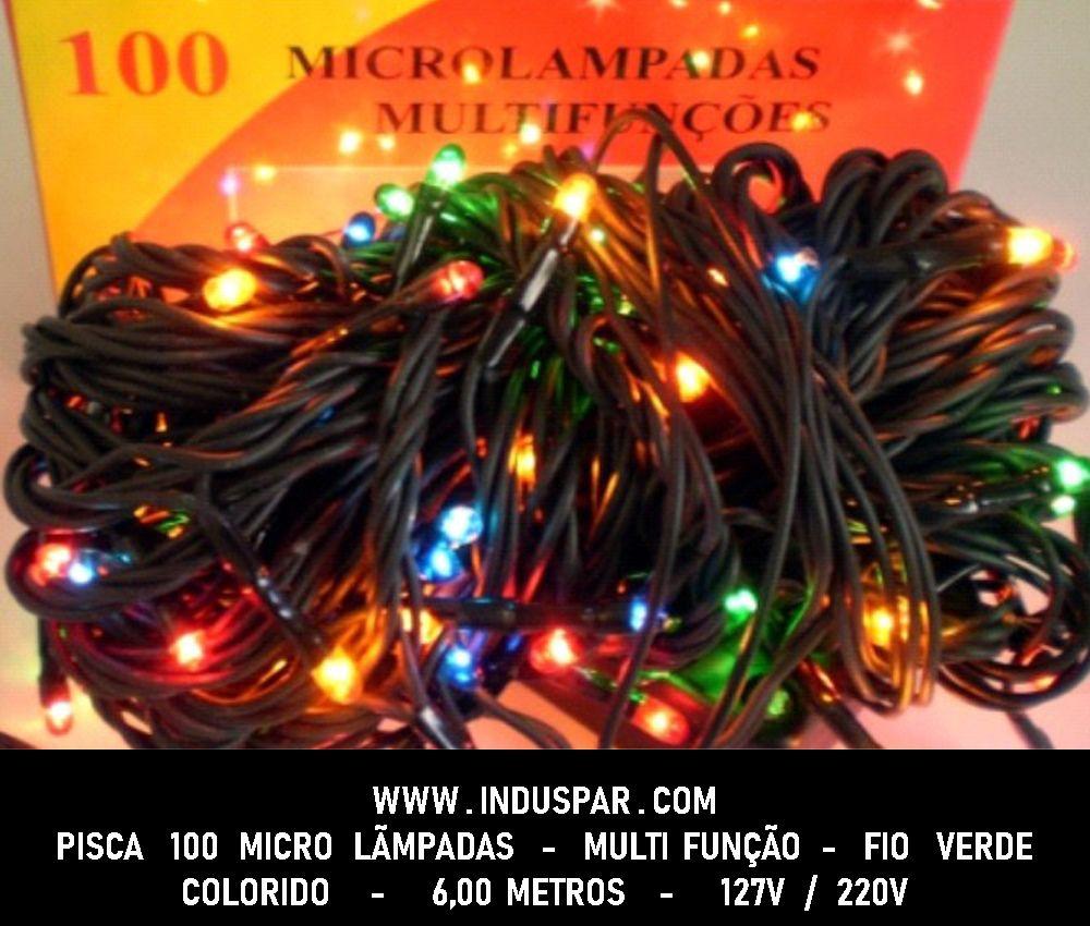 Pisca Pisca 100 Micro Lâmpada Colorida Multi Funções  Fio Verde - Ref. 101051 / 102050