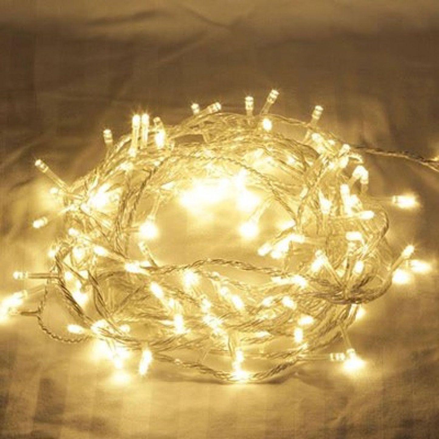 Pisca Pisca Branco Quente Led Micro Lampadas 1 strobo fio Transparente - Fixo - Comp. 9,50mts