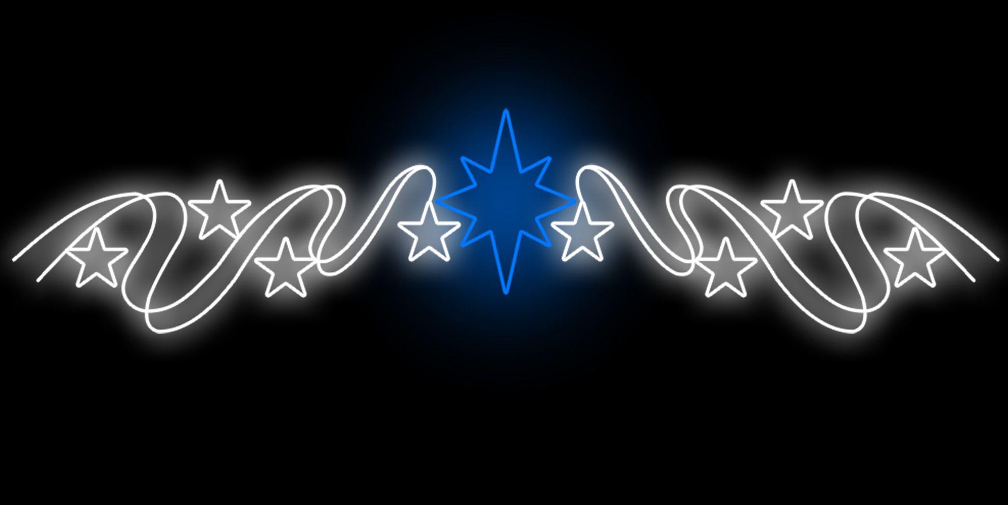 PO-003 - Painel Iluminado Led Estrela 8 pontas com Rabichos (Veja Opções)