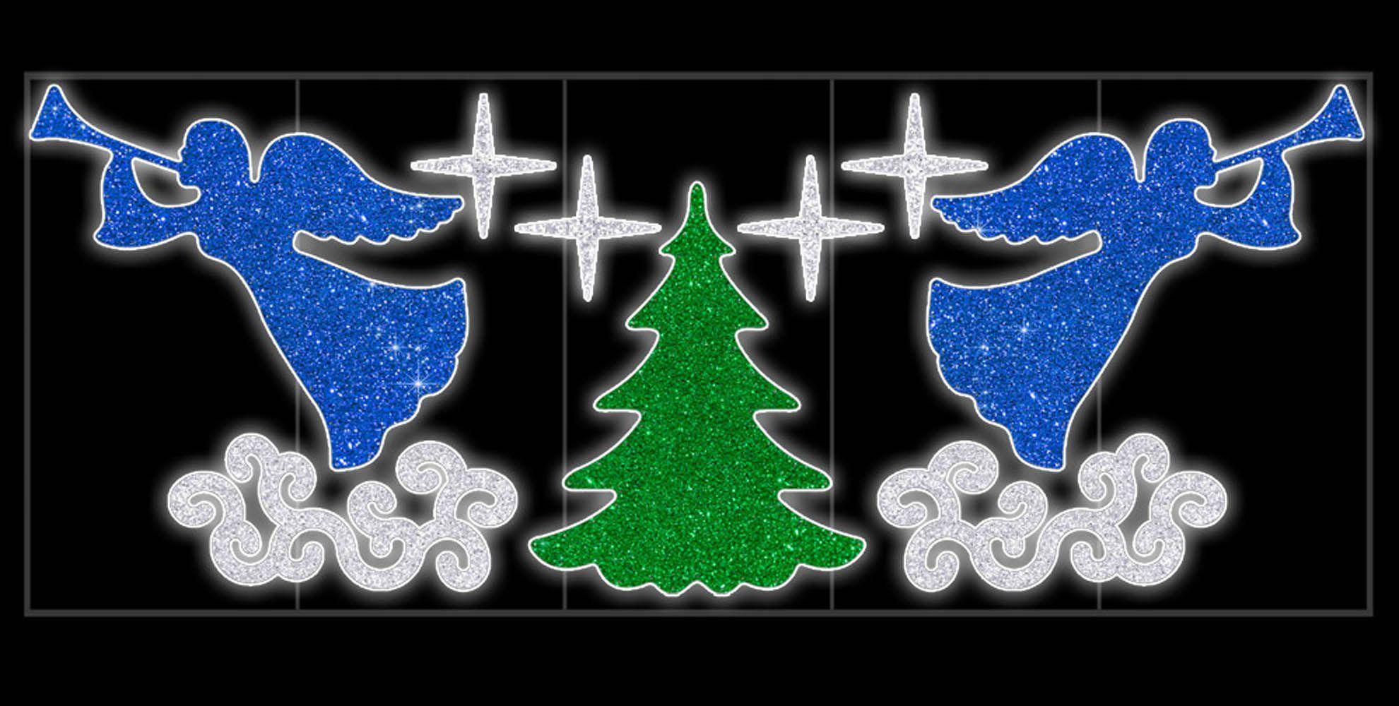 PO-006 - Decoração Color Mdf Painel Iluminado Led Anjos e Pinheiro - (Veja Opções Tamanhos)