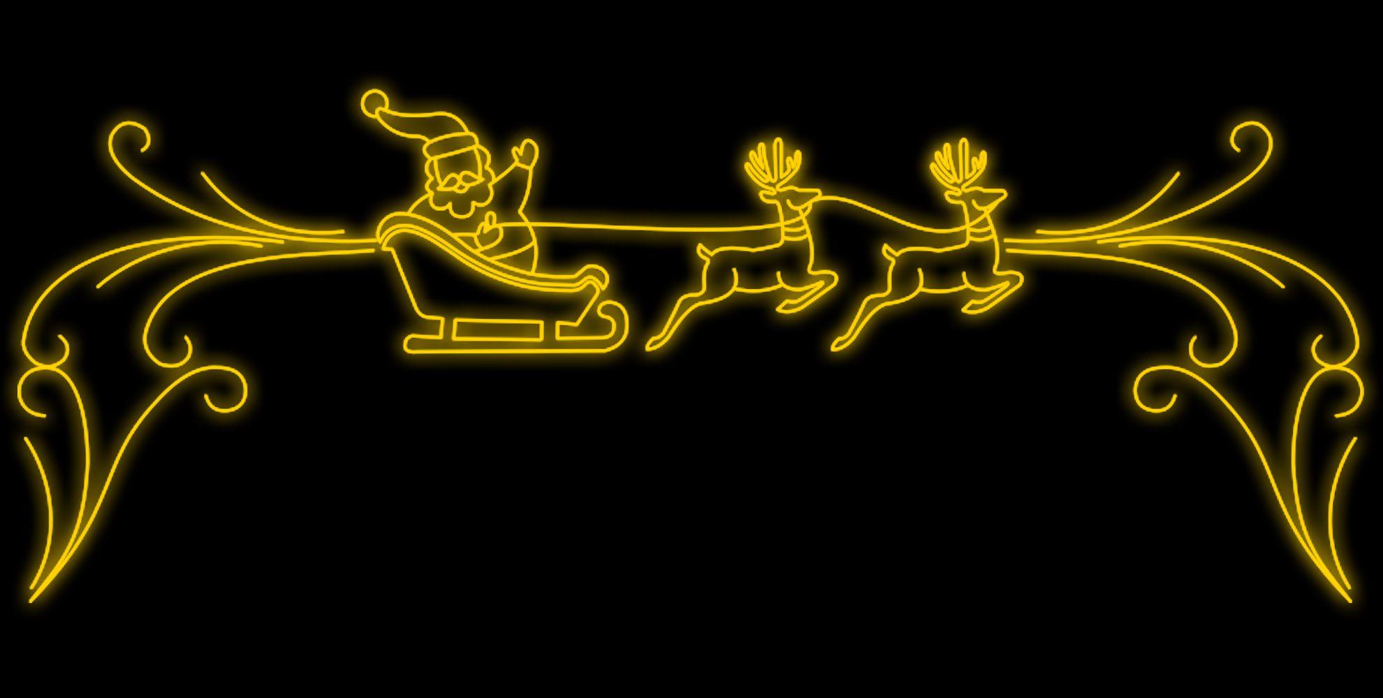 PO-009 - Painel Iluminado Led Papai Noel no Trenó - (Veja Opções Tamanhos)