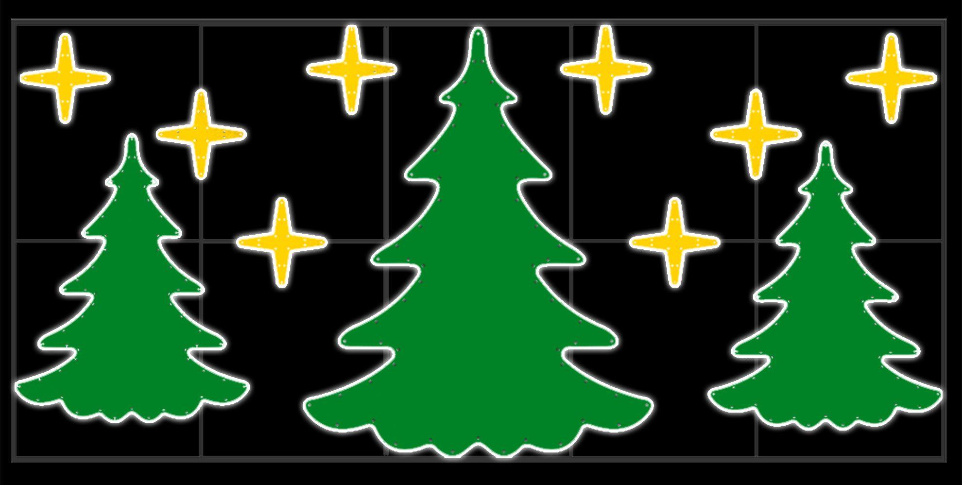 PO-017 - Painel Iluminado Led Iluminado Led - 3 Pinheiros e Estrelas - (Veja Opções Tamanhos)
