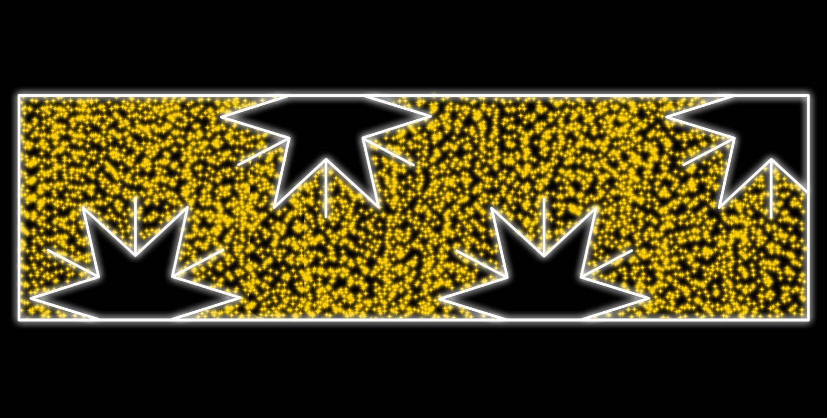 PO-026 - Decoração Metálica Iluminada Led - Painel  Estrelas Meia Face - MED 1,30 x 4,50 mts