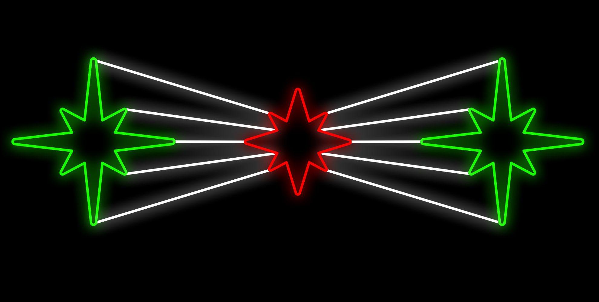PO-034 - Decoração Metálica Iluminada Led - Painel Estrelas Refletivas - MED 1,45 X 5,00 MTS