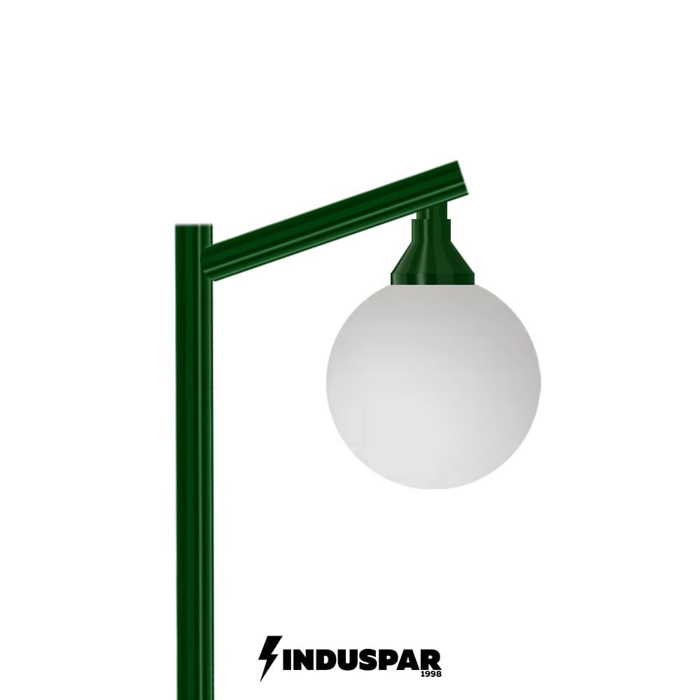 Poste Colonial de Jardim - P02G/1 - 1 Globo 30 cm Braço Angular