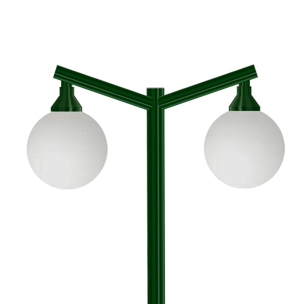 Poste Colonial de Jardim - P02G/2 - 2 Globos 30 cm Braço Angular