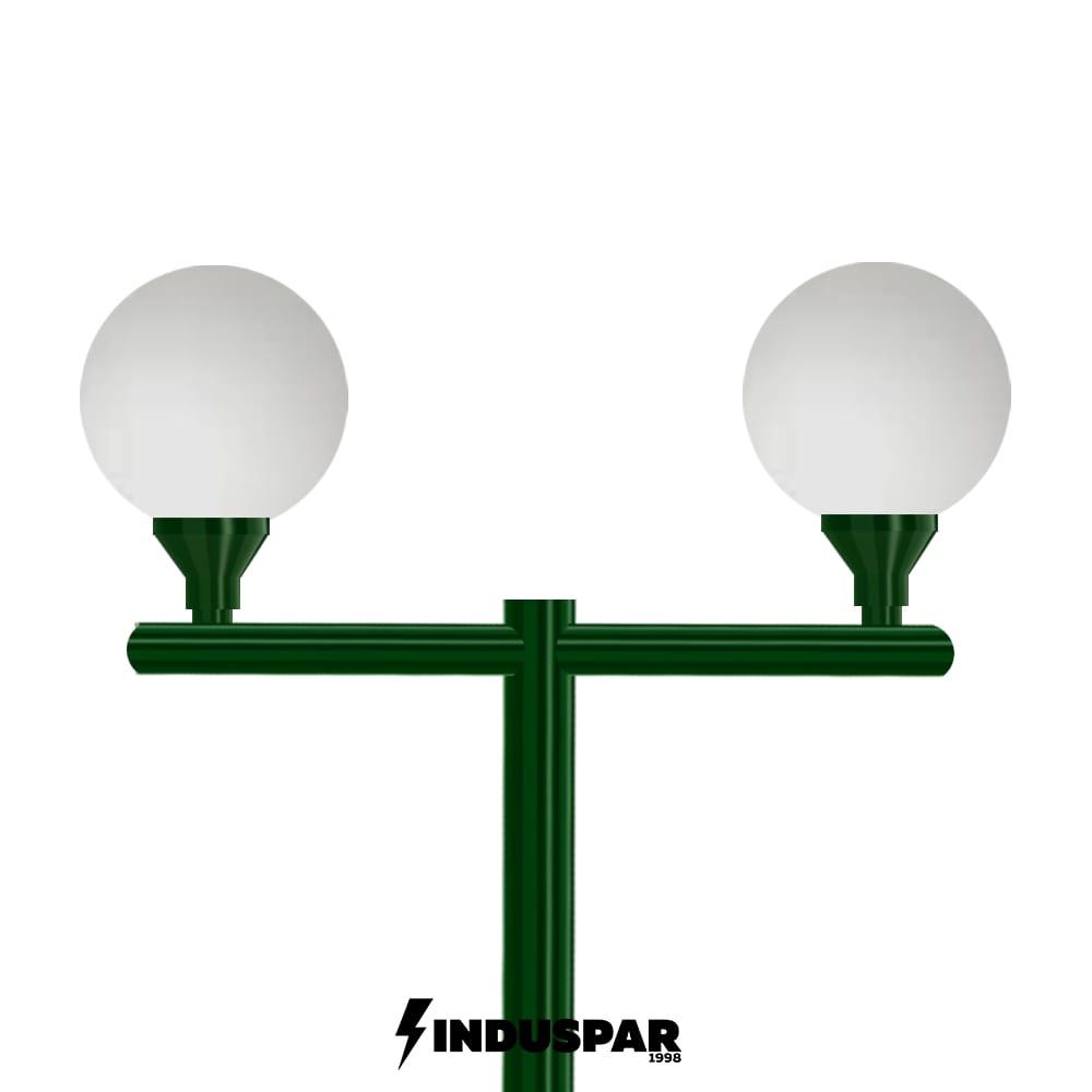Poste Colonial de Jardim - P03G/2 - 2 Globos 30 cm Braço Reto