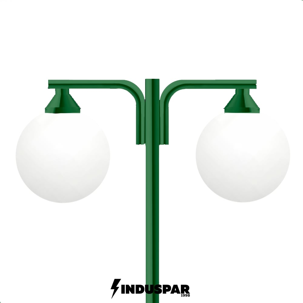 Poste Colonial de Jardim - P07G/2 - Pêndulo Curvo 2 Globos
