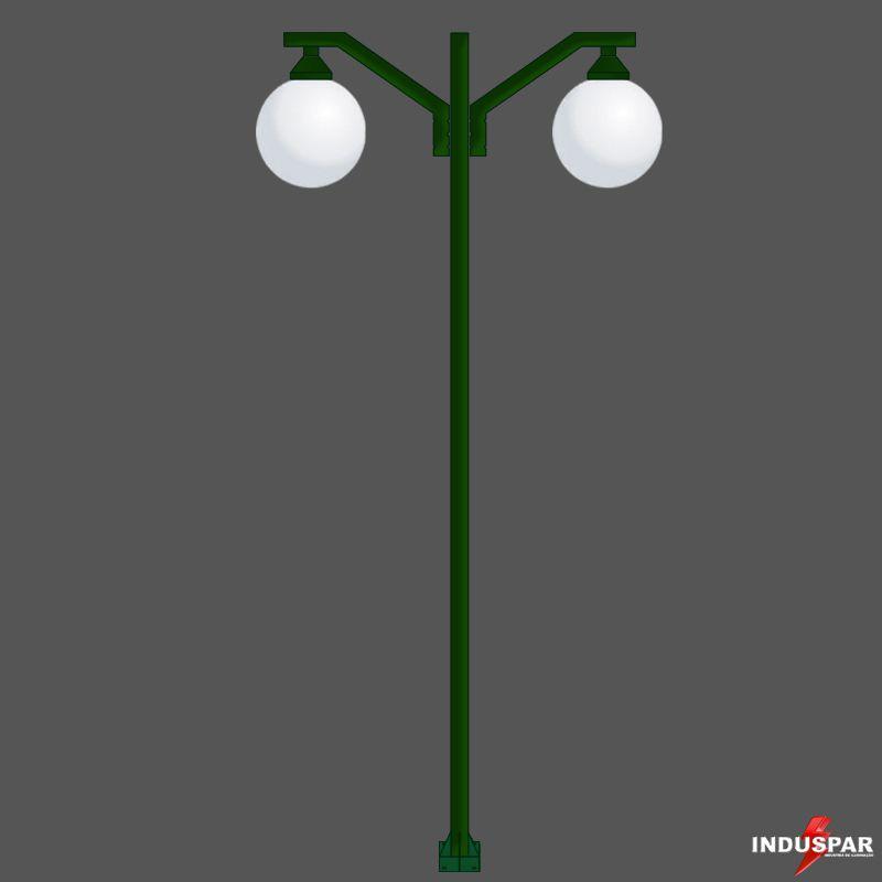 Poste Colonial de Jardim - P08G/2 - Pêndulo Reto 2 Globos