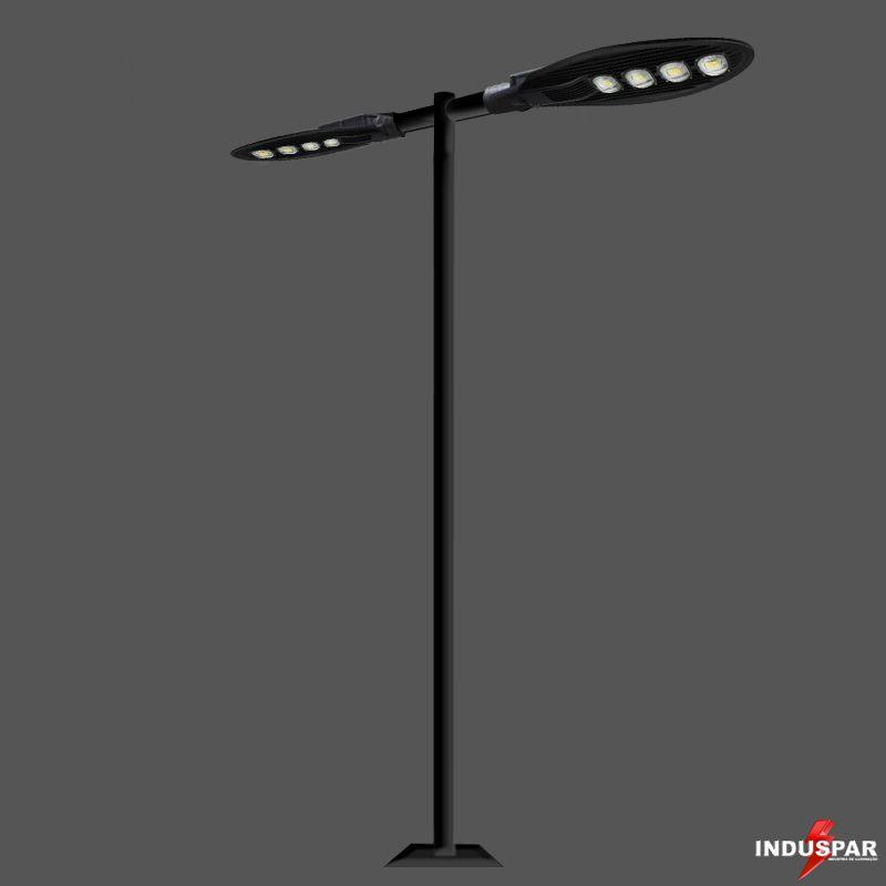 Poste de Iluminação Led Reto - 2 Luminárias Pétala 200W (3 à 12 Metros)
