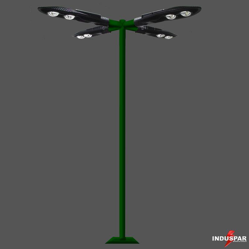Poste de Iluminação Led Reto - 4 Luminárias Pétala 100W (3 à 12 Metros)