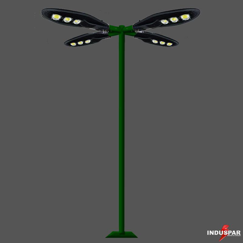 Poste de Iluminação Led Reto - 4 Luminárias Pétala 150W (3 à 12 Metros)