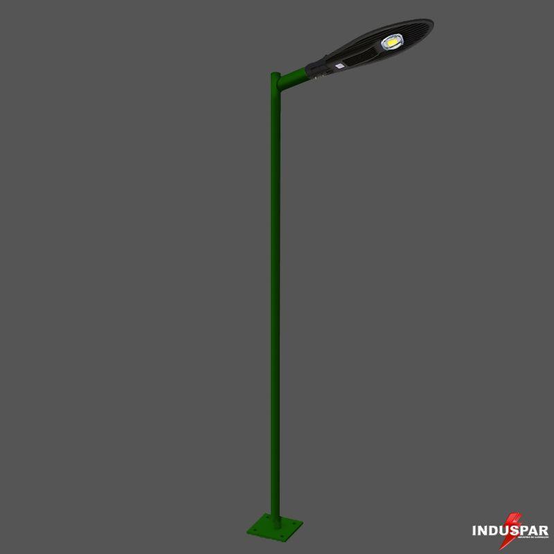 Poste de Iluminação Led Reto Angular - 1 Luminária Pétala  50W (3 à 12 Metros)