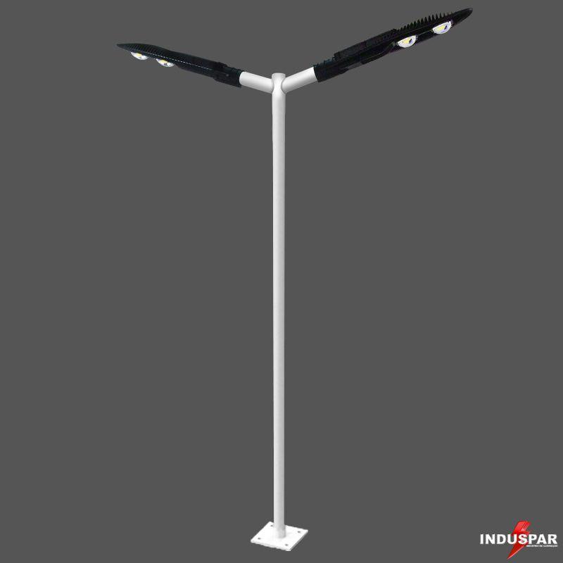 Poste de Iluminação Led Reto Angular - 2 Luminárias Pétala 100W (3 à 12 Metros)