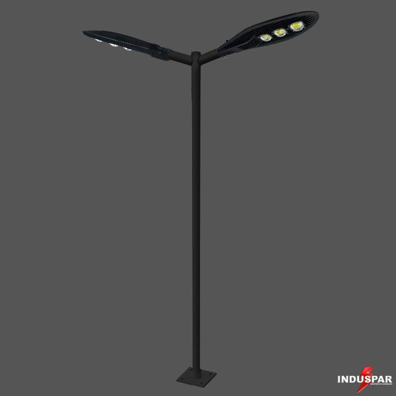 Poste de Iluminação Led Reto Angular - 2 Luminárias Pétala 150W (3 à 12 Metros)